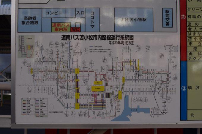 道南バス苫小牧市内路線運行系統図