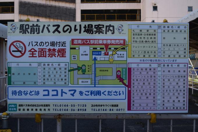 苫小牧駅前バスのり場案内図