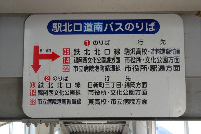 苫小牧駅北口道南バス乗り場表示板