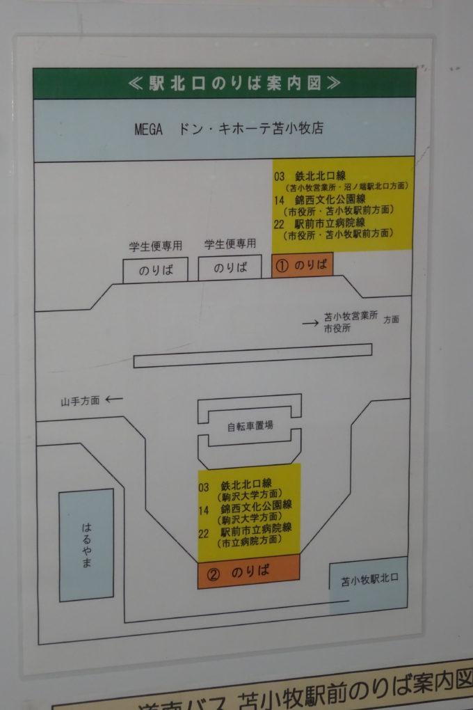 苫小牧駅北口バスのり場案内図