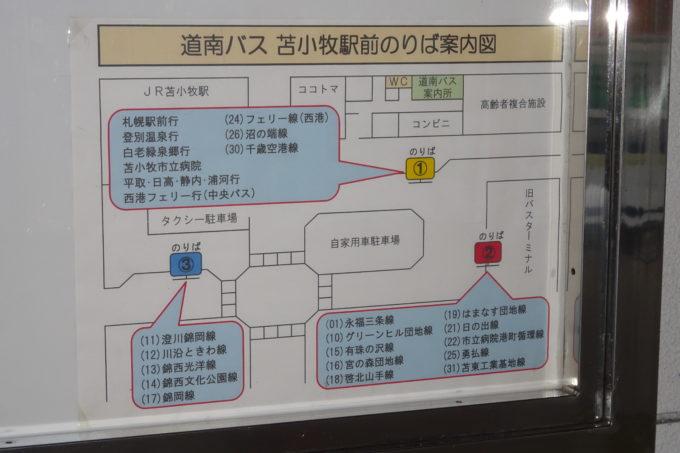 道南バス苫小牧駅前乗り場案内図