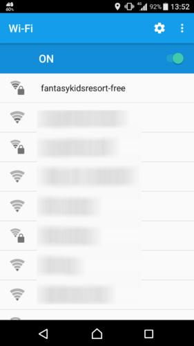 SSID「fantasyresort-free」を選択。