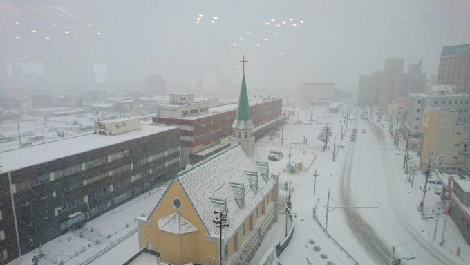 降雪時の釧路ロイヤルインからのJR釧路駅と釧路駅前バスターミナル