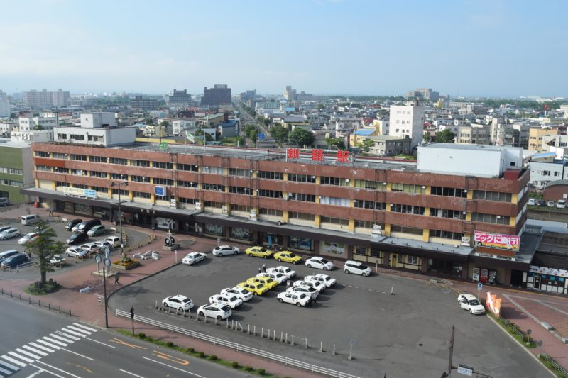 昼のルートイン釧路駅前からのJR釧路駅