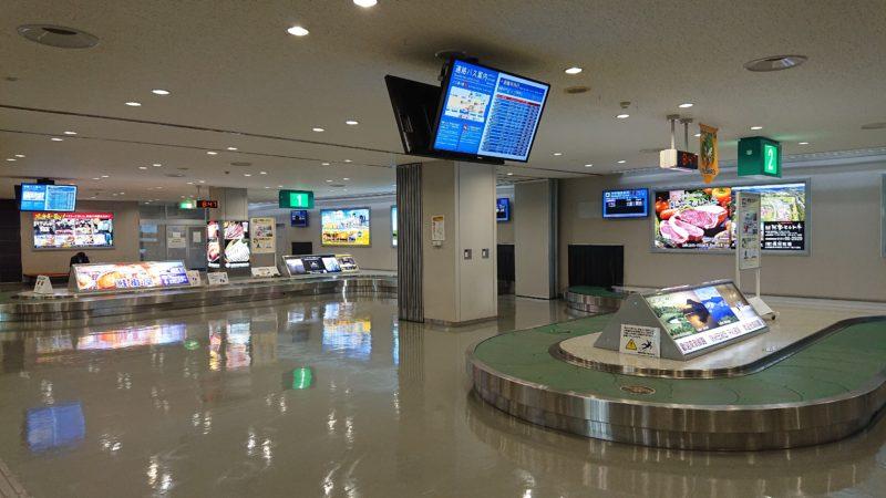釧路空港の手荷物受取場とターンテーブル