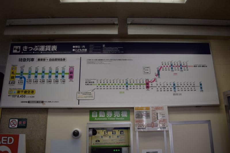 釧路駅切符運賃表