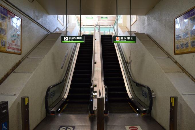 釧路駅のエスカレーターは車いす対応