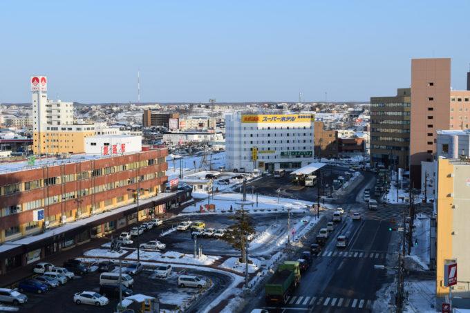 釧路ロイヤルインからのJR釧路駅と釧路駅前バスターミナル