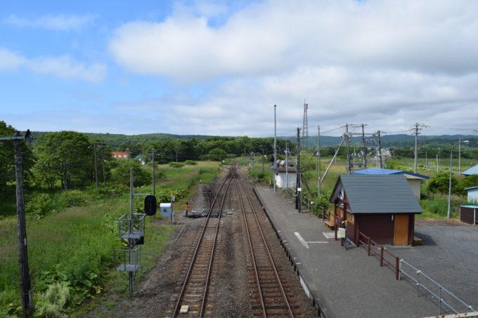 直別駅跨線橋上から直別駅駅舎と厚内駅方面