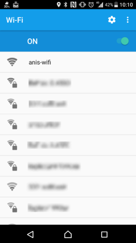 SSID「anis-wifi」を選択。