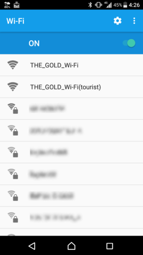 SSID「THE_GOLD_Wi-Fi」を選択。