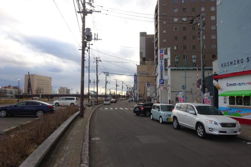 釧路カレーチキンがある建物付近からの幣舞橋・北大通方面