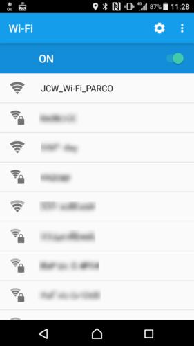 SSID「JCW_Wi-Fi_PARCO」を選択。