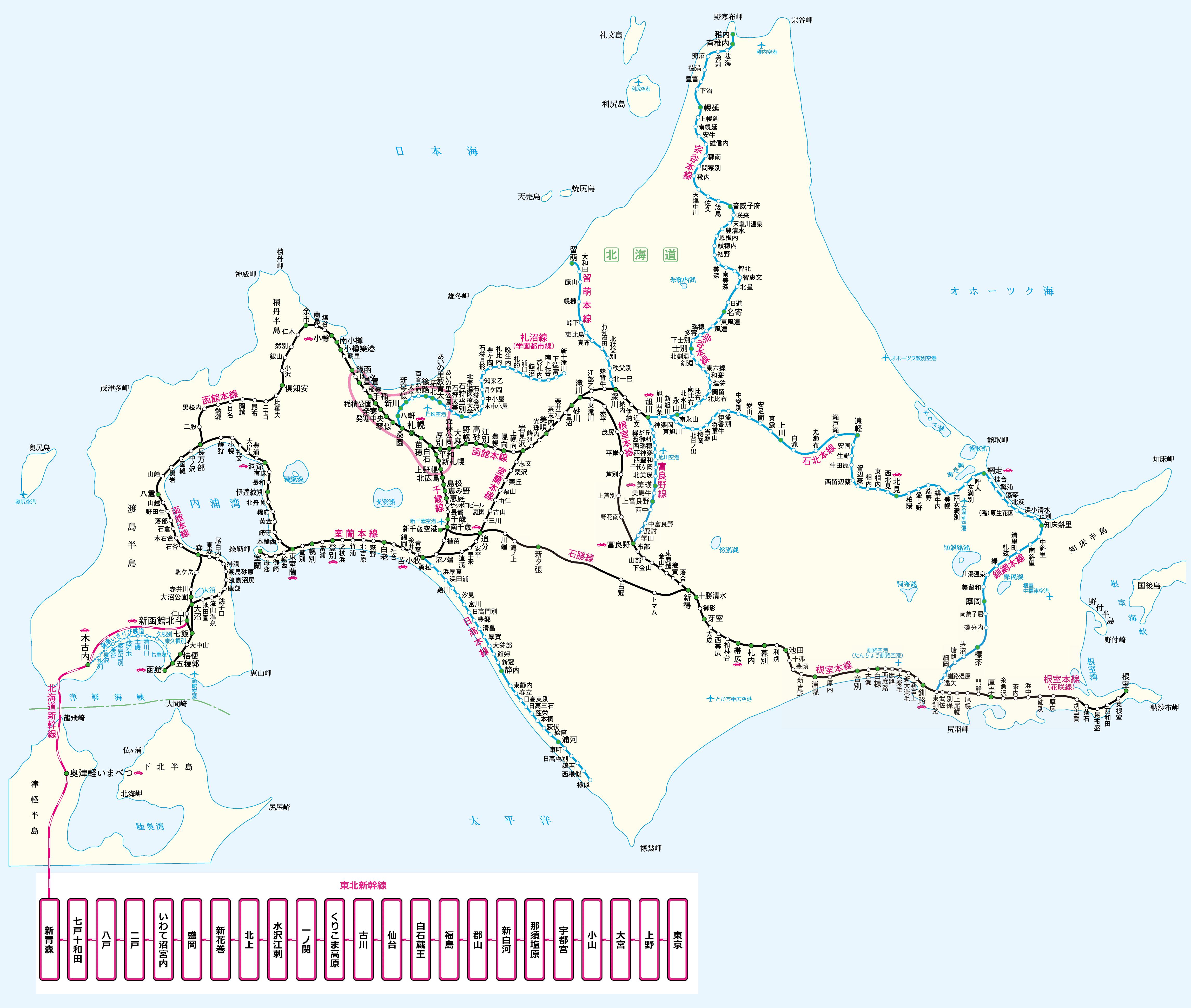 JR北海道路線図