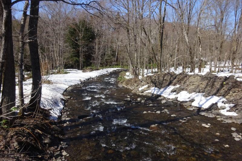 雪解け水が流れ込みます