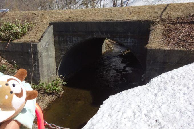 鉄橋下を流れる小川