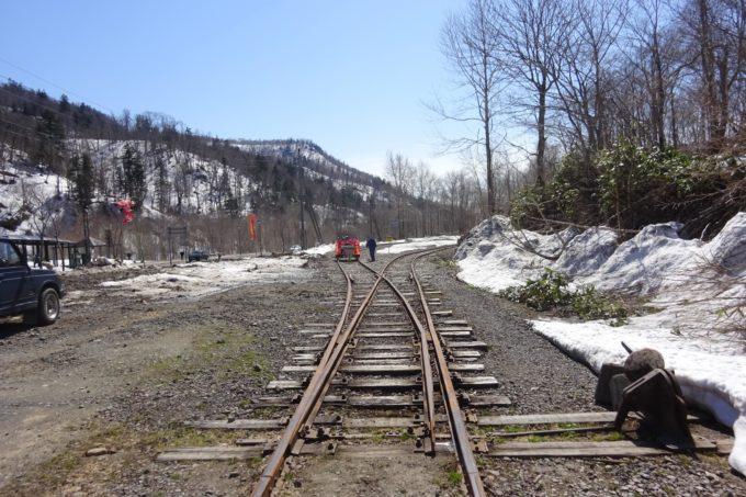 トロッコ列車折り返し地点の外方分岐