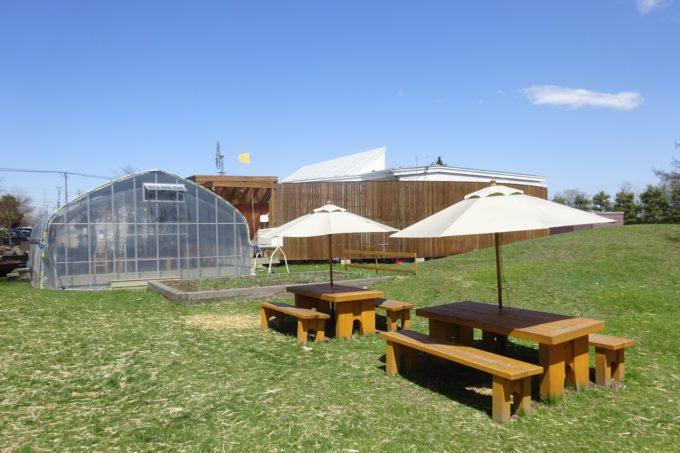 麦音の小麦畑を眺めながら庭のイートインスペース