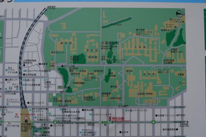 札幌市営地下鉄北12条駅設置の北海道大学付近地図