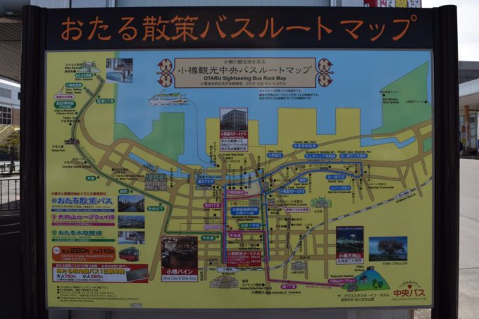 小樽観光中央バスルートマップ