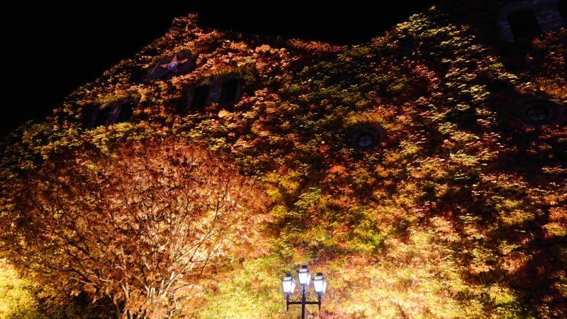 夜のサッポロファクトリーレンガ館のツタ紅葉